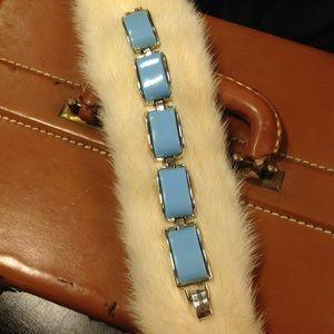 Vintage Thermoset Bracelet Silvertone & Sky Blue